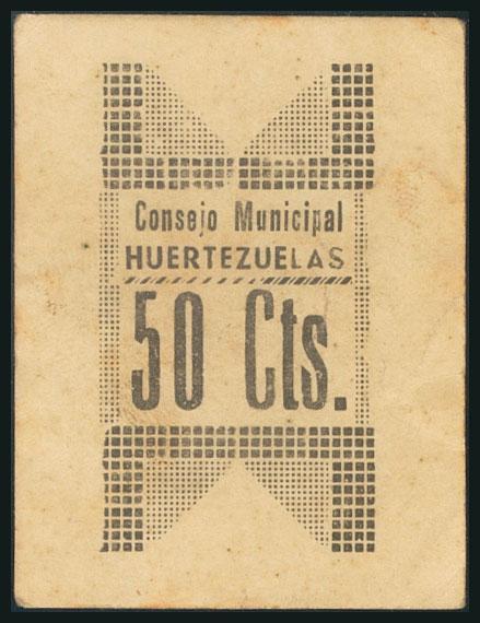 78 - HUERTEZUELAS (CIUDAD REAL). 50 Céntimos. (1938ca). (González: 2895). Muy raro. MBC+. - 120€