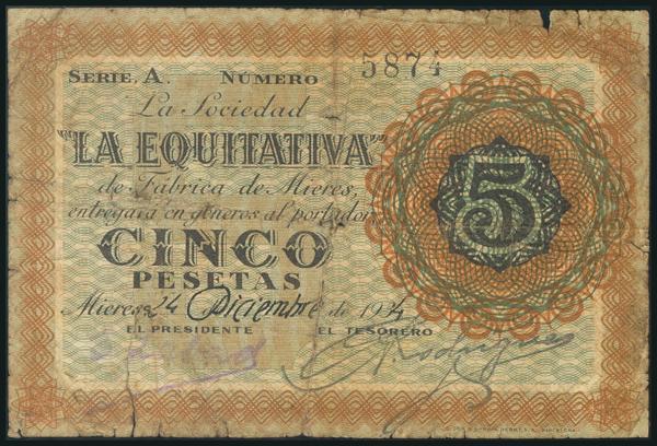 90 - MIERES (ASTURIAS). 5 Pesetas. 1934. Serie A. (González: 3519). Rarísimo. RC. - 120€