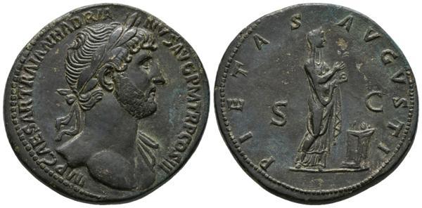 107 - ADRIANO. Sestercio. (Ae. 23,65g/34mm). 124 d.C. Roma. Anv: IMP CAESAR TRAIAN HADRIANVS AVG P M TR P COS III. Busto laureado con ligero drapeado en hombro izquierdo a derecha. Rev: PIETAS AVGVSTI. Pietas estante a derecha sosteniendo incienso sobre altar, entre S-C. (RIC 587a). EBC-. Retocado. - 1.200€