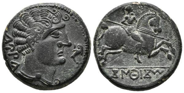 20 - CONTERBIA CARBICA (Huete, Cuenca). As. (Ae. 9,29g/23mm). 120-80 a.C. Anv: Busto masculino a derecha sin barba, delante delfín, detrás leyenda ibérica: CaRBiCa. Rev: Jinete con lanza a derecha, leyenda ibérica: CoNTeBaCoM. (FAB-846). EBC. Pátina contemporánea. Bonito ejemplar.<BR><BR>Ceca prolífica en lo que a emisiones se refiere, destacando la acuñación tanto de denarios como de cobres aun de métrica ibérica a mediados del siglo II a.C. En los reversos de las unidades se representa el tradicional jinete lancero. El anverso presenta siempre busto masculino imberbe o barbado, lo que es algo poco usual ya que las cecas suelen optar por un tipo u otro no siendo demasiado frecuente este uso alternativo en la moneda de este periodo. Este hecho, unido a la variedad de grafía y de otros elementos estilísticos nos lleva a pensar que fueron emisiones muy prolongadas en el tiempo. - 150€