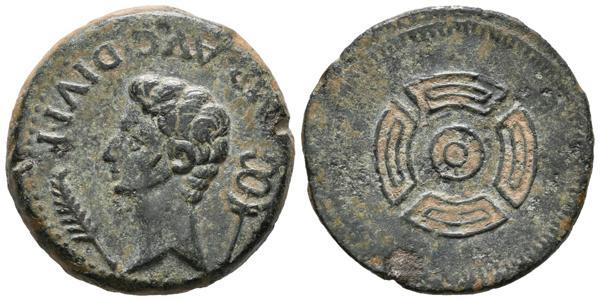 42 - LUCO AUGUSTI (Lugo). As. (Ae. 9,59g/25mm). 27 a.C.-14 d.C. Anv: Cabeza desnuda de Augusto a izquierda, detrás caduceo, delante palma, alrededor: IMP. AVG. DIVI. F. Rev: Rodela de frente sin reborde. (FAB-1706). MBC+. Escasa. - 150€