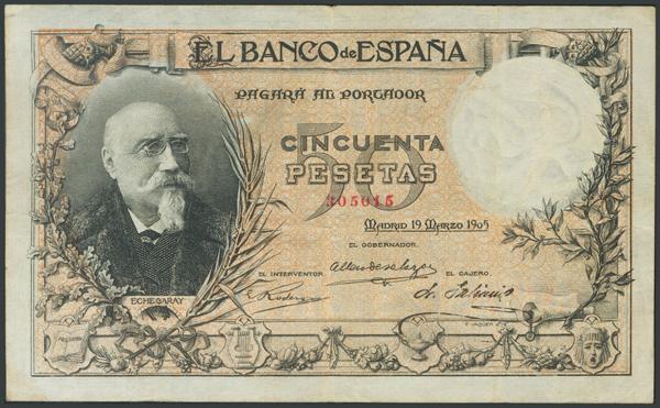 10 - 50 Pesetas. 19 de Marzo de 1905. Sin serie. (Edifil 2017: 312). Inusual, presenta parte del apresto original. MBC+. - 1.200€