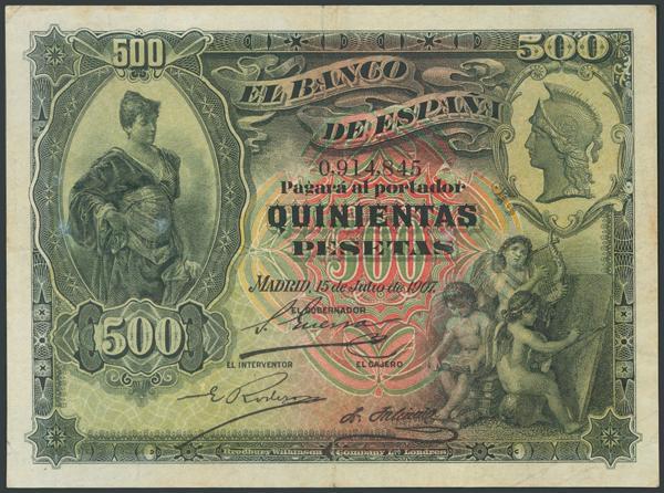 12 - 500 Pesetas. 15 de Julio de 1907. Sin serie. (Edifil 2017: 321). Inusual, levísimas reparaciones. MBC-. - 250€