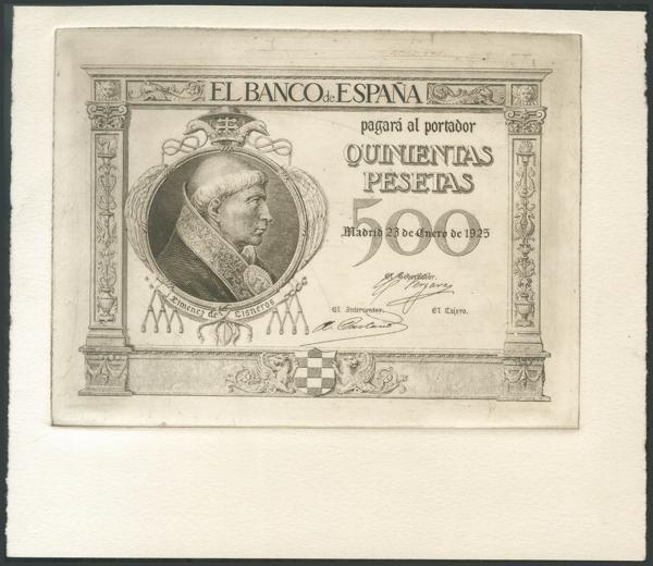 20 - 500 Pesetas. 25 de Enero de 1925. Prueba de anverso en color negro de un billete no emitido. Rara. SC. - 300€