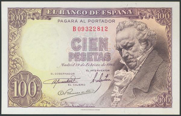 356 - 100 Pesetas. 19 de Febrero de 1946. Serie B. (Edifil 2017: 451b). Conserva todo su apresto original. SC. - 100€