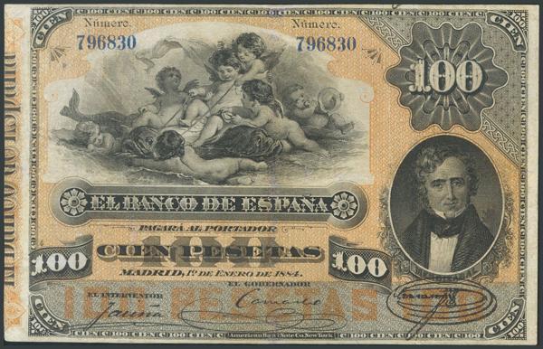 6 - 100 Pesetas. 1 de Enero de 1884. Sin serie. (Edifil 2017: 284). Inusual y profesionalmente restaurado.  - 1.600€