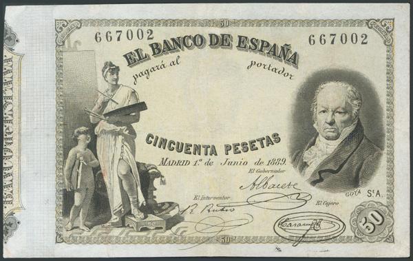 7 - 50 Pesetas. 1 de Junio de 1889. Sin serie. (Edifil 2017: 298). Inusual, profesionalmente restaurado. - 1.600€