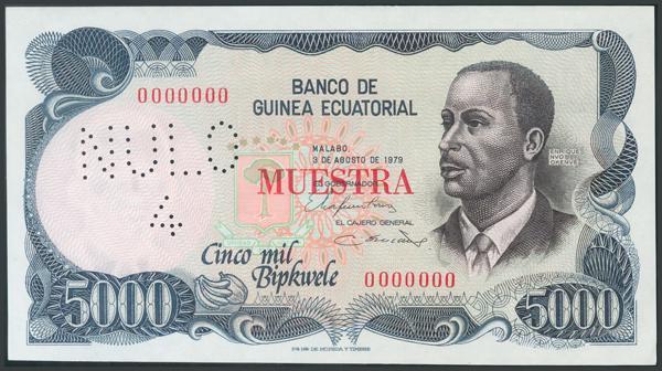 808 - GUINEA ECUATORIAL. 5000 Bipkwele. 3 de Agosto de 1979. MUESTRA y numeración 0000000. (Pick: 17). Rarísimo y apresto original. SC. - 500€