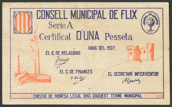 906 - FLIX (TARRAGONA). 1 Peseta. Mayo 1937. Serie A. (González: 7885). Raro. EBC-. - 40€