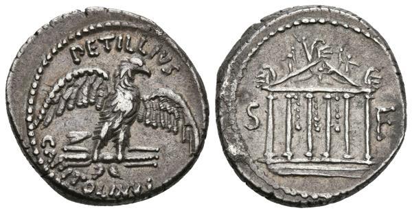751 - GENS PETILLIA. Denario. (Ar. 4,04g/19mm). 43 a.C. Roma. (FFC 962; Crawford 487/2b). Anv: Aguila a derecha sobre haz de rayos, encima leyenda: PETILLIVS, debajo leyenda: CAPITOLINVS. Rev: Templo hexástilo, entre S-F. EBC-. Precioso ejemplar, escaso así. - 300€