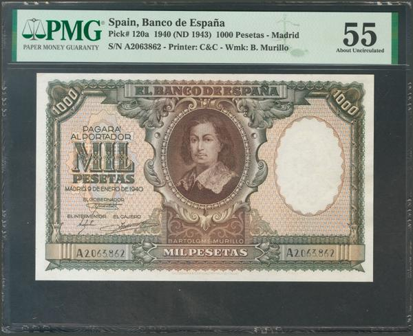 1139 - 1000 Pesetas. 9 de Enero de 1940. Serie A. (Edifil 2017: 440). EBC+. Encapsulado PMG55. - 450€