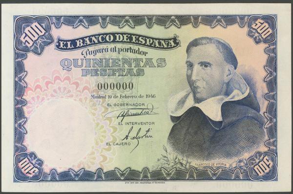 1174 - 500 Pesetas. 19 de Febrero de 1946. Muestra con numeración 000000. (Edifil 2017: 452N). Rarísimo. SC-. - 1.000€