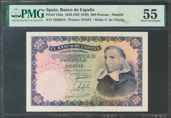 1175 - 500 Pesetas. 19 de Febrero de 1946. Sin serie. (Edifil 2017: 452). EBC+. Encapsulado PMG55. - 400€