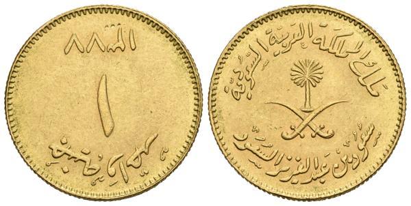 1114 - ARABIA SAUDI. 1 Guinea (Au. 7,92g/22mm). 1957 (1377AH). (Km#43). EBC-.<BR> - 275€