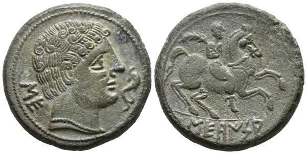174 - SECAISA (Segeda, Zaragoza). As. (Ae. 20,75g/30mm). 120-20 a.C. (FAB-2121). Anv: Cabeza masculina a derecha, detrás letras ibérica: SE, delante delfín. Rev: Jinete con palma a derecha, debajo leyenda ibérica: SECaISA. EBC-. Precioso ejemplar.<BR><BR>La acuñación de monedas en este enclave aragonés y de origen belo es abundante y variada en lo que a cobres y plata se refiere. La iconografía aun con matices, siempre repite lo mismos elementos: figura varonil barbada o imberbe en anverso a la que acompaña bien leona o delfín con o sin letra ibérica SE y reverso con jinete, bien lancero o con palma y con leyenda ibérica. Estas emisiones oscilan en una métrica de entre 15 piezas/denario, de aproximadamente en el 180 a.C, a 25 piezas por denario ya en pleno siglo I a.C. - 400€