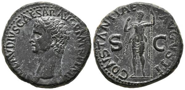 279 - CLAUDIO I. As. (Ae. 14,86g/28mm). 41-43 d.C. Roma. (RIC 111). Anv: Cabeza de Claudio I a izquierda, alrededor leyenda: TI CLAVDIVS CAESAR AVG P M TR P IMP. Rev: Constantia estante a izquierda sosteniendo cetro, entre S-C, alrededor leyenda: CONSTANTIAE AVGVSTI. EBC. Precioso ejemplar raro así. - 250€