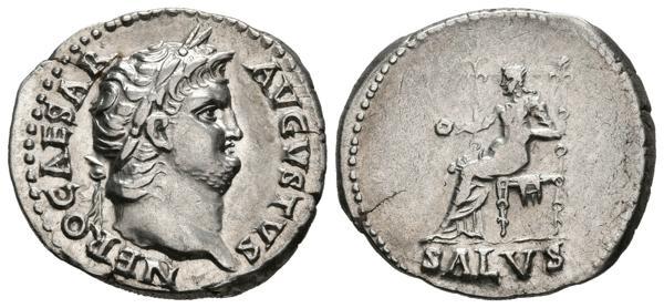 285 - NERON. Denario. (Ar. 3,52g/19mm). 65-66 d.C. Roma. (RIC 60). Anv: Cabeza laureada de Nerón a derecha, alrededor leyenda: NERO CAESAR AVGVSTVS. Rev: Salus sentada a izquierda portando patera, debajo leyenda: SALVS. EBC/EBC-. Ligera grieta. Raro ejemplar y más así. - 1.000€