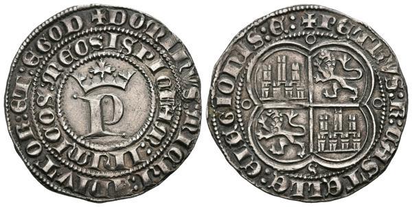 """699 - PEDRO I (1350-1368). 1 Real. (Ar. 3,42g/25mm). Sevilla. (FAB-380). Anv: P coronada y alrededor la leyenda: DOMINVS MICHI ADIVTOR ET EGO DISPICIAM INIMICOS MEOS. Rev: Castillos y leones cuartelados dentro de gráfila cuatrilobular, alrededor leyeda: PETRVS REX CASTELLE E LEGIONIS. EBC-. Bonito ejemplar, escaso así.<BR><BR>El único hijo legítimo de Alfonso XI, a pesar de ser un rey castellano, instaló durante un tiempo su corte en Sevilla desde donde fraguó una leyenda tan dispar que lo califica de cruel o de justo dependiendo de si atendemos a sus detractores o partidarios. Sin duda, el acontecimiento que marcó su reinado fue el enfrentamiento con su hermanastro Enrique de Trastámara, quien a pesar de contar con el apoyo militar francés cayó estrepitosamente en la batalla de Nájera. Paradójicamente, la victoria de Pedro I supuso el principio del fin de su reinado; graves problemas económicos, la aparición de importantes núcleos partidarios de su hermanastro y una desafortunada alianza con el rey nazarí de Granada precipitaron otra contienda, que esta vez sí acabó del lado del nuevo rey Enrique II tras un encuentro cara a cara entre ambos. El cronista López de Ayala, lo relató así: """"firiólo con una daga por la cara: é dicen que amos á dos, el Rey Don Pedro é el Rey Don Enrique, cayeron en tierra, é el Rey Don Enrique le firió estando en tierra de otras feridas. E allí morió el Rey Don Pedro"""". - 175€"""
