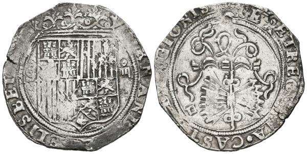 727 - REYES CATÓLICOS (1474-1504). 4 Reales. (Ar. 13,56g/33mm). S/D. Sevilla. (Cal-2019-564). Ensayador en reverso D. En anverso ELISBET, sin A. MBC-. <BR> - 100€