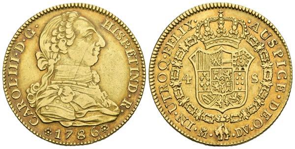 803 - CARLOS III (1759-1788). 4 Escudos (Au. 13,50g/34mm). 1786. Madrid DV. (Cal-2019-1791). MBC/MBC+. Precioso tono.<BR> - 500€