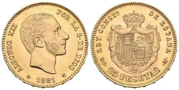 921 - ALFONSO XII (1874-1885). 25 Pesetas. (Au. 8,07g/24mm). 1881 *18-81. Madrid MSM. (Cal-2019-82). EBC. Ligerísimas marquitas.<BR><BR>El importe de la liquidación de este lote irá destinado a Manos Unidas.<BR><BR><BR> - 250€
