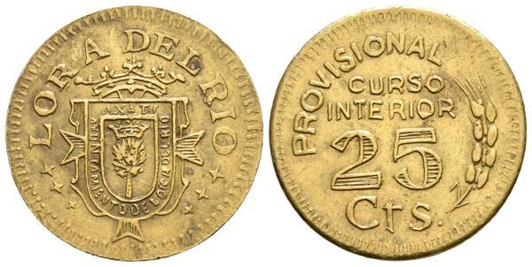 996 - LORA DEL RÍO (Sevilla). 25 Céntimos (La. 3.57g/23mm). S/D. 1936-1939. (Cal-2019-44). MBC+. Escasa. - 150€