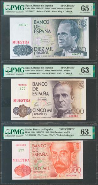 2619 - Conjunto de los 6 billetes de 200 Pesetas, 500 Pesetas, 1000 Pesetas, 2000 Pesetas, 5000 Pesetas y 10000 Pesetas emitidos entre el 23 de Octubre de 1979 y el 24 de Septiembre de 1985, todos ellos con la misma numeración MUESTRA Nº177 y Nº0000000. (Edifil 2021: 476/81M). Conjunto extraordinariamente raro, posiblemente único conocido. SC. Encapsulados PMG63, todos excepto el de 10000 Pesetas que es PMG65EPQ. - 5.000€