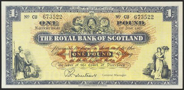 1223 - SCOTLAND. 1 Pound. 1967. The Royal Bank of Scotland. (Pick: 325b). Uncirculated. - 30€