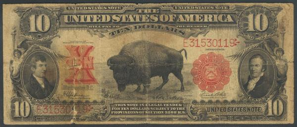 1339 - UNITED STATES OF AMERICA. 10 Dollars. 1901. Signatures: Speelman and White. (Pick: 185, Friedberg: 122). Very rare in any condition, the famous Bison note, non-mule type. One large tear, no repairs, all original. Fair. - 120€