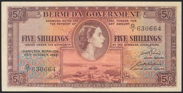 141 - BERMUDA. 5 Shillings. 1952. (Pick: 18a). Pressed. Very Fine. - 20€