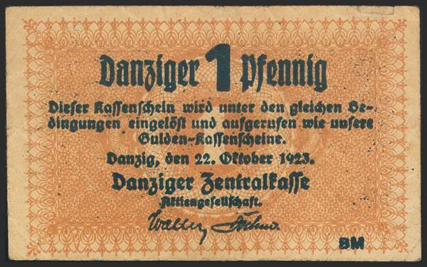 490 - DANZIG (GDANSK). 1 Pfennig. 1923. (Pick: 32). Rare. Very Fine. - 30€
