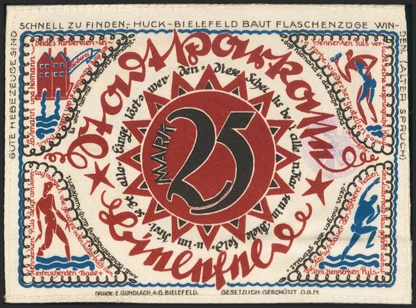 646 - GERMANY. NOTGELD (BIELEFELD). 25 Mark. 1921. Silk. With round stamp, no serial number. (Grabowski 103.8c-2/3). Uncirculated. - 20€