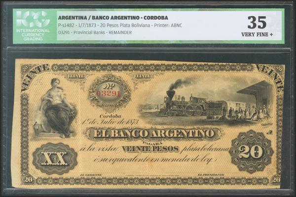 72 - ARGENTINA. 20 Pesos Plata Boliviana. 1 July 1873. (Pick: s1482). Rare. ICG35 (to get an idea of the rarity of this banknote, the last one sold was for 200 dollars (PCGS 58) at the auction house of Heritage Auctions, Inc). - 60€