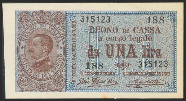 788 - ITALY. 1 Lira. 1914. (Pick: 36b). Rare. Slight oxidation on bottom margin. Uncirculated. - 30€