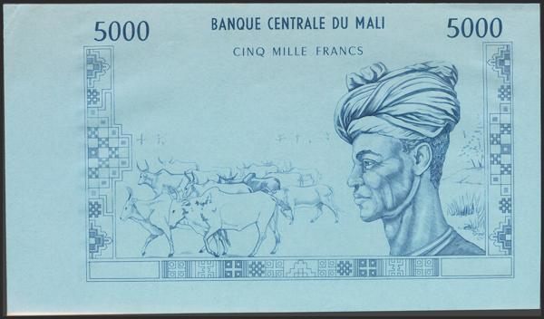909 - MALI. 5000 Francs. 1972. Progressive Front Proof for Pick 14 over cyan paper. Uniface. Extremely rare and interesting. About Uncirculated. - 100€