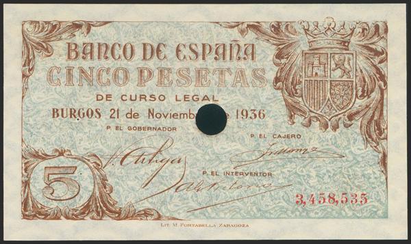 2163 - 5 Pesetas. 21 de Noviembre de 1936. Sucursal de Burgos. Con taladro, con numeración y sin serie. (Edifil 2021: 417T). Inusual y apresto original. SC. - 325€
