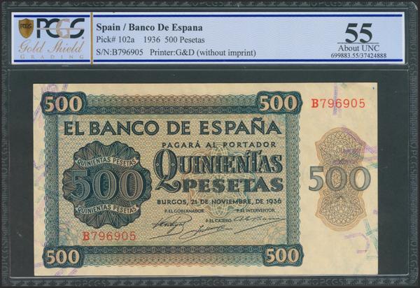 2178 - 500 Pesetas. 21 de Noviembre de 1936. Serie B. (Edifil 2021: 422a). Muy raro en esta calidad. EBC+. Encapsulado PCGS55. - 650€