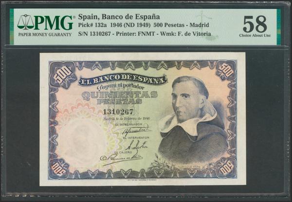 2444 - 500 Pesetas. 19 de Febrero de 1946. Sin serie. (Edifil 2017: 452). Inusual en esta conservación. EBC+. Encapsulado PMG58. - 675€
