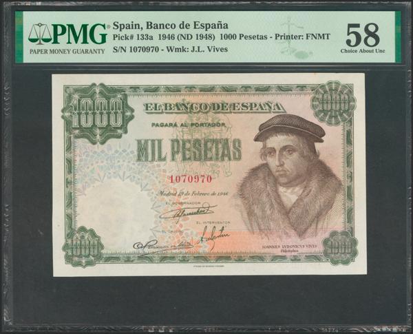 2445 - 1000 Pesetas. 19 de Febrero de 1946. Sin serie. (Edifil 2017: 453). Rarísimo en esta calidad. EBC+. Encapsulado PMG58. - 750€