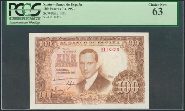 2607 - 100 Pesetas. 7 de Abril de 1953. Sin serie. (Edifil 2021: 464). Inusual. SC. Encapsulado PCGS63. - 225€
