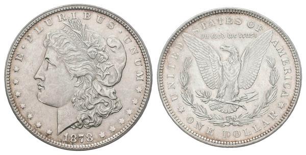 1369 - ESTADOS UNIDOS. 1 Dollar (Ar. 26,73g/38mm)*. 1878. Philadelphia. (Km#110). MS 61, 7/8 TF VAM-33 WEAK. Encapsulado por ANACS. *Peso y medida teórico. - 175€