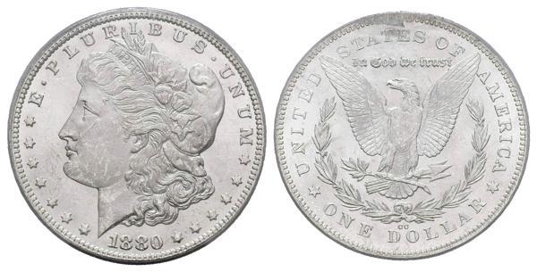 1394 - ESTADOS UNIDOS. 1 Dollar (Ar. 26,73g/38mm)*. 1880. Carson City CC. (Km#110). MS 63. Rev of 1878. Encapsulado por ICG. *Peso y medida teórico. - 550€