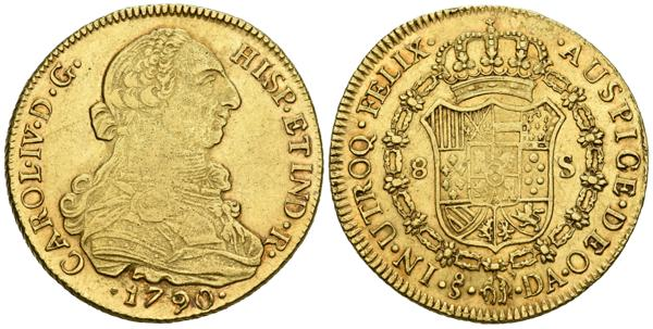 810 - CARLOS IV (1788-1808). 8 Escudos (Au. 27,00g/37mm). 1790. Santiago DA. (Cal-2019-1752). Busto de Carlos III. Ordinal IV. MBC. - 1.000€