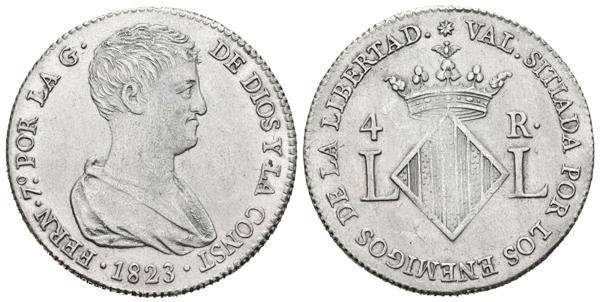 845 - FERNANDO VII (1808-1833). 4 Reales (Ar. 6,14/25mm). 1823. Valencia. (Cal-2019-994). EBC+. - 150€