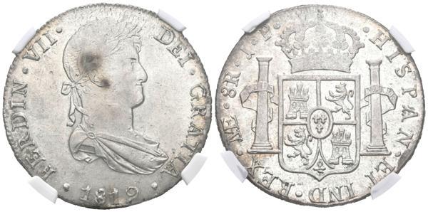 853 - FERNANDO VII (1808-1833). 8 Reales (Ar. 27,00g/38mm)*. 1819. Lima JP. (Cal-2019-1252). MS 62. Encapsulada por NGC. *Peso y medida teóricos. - 150€