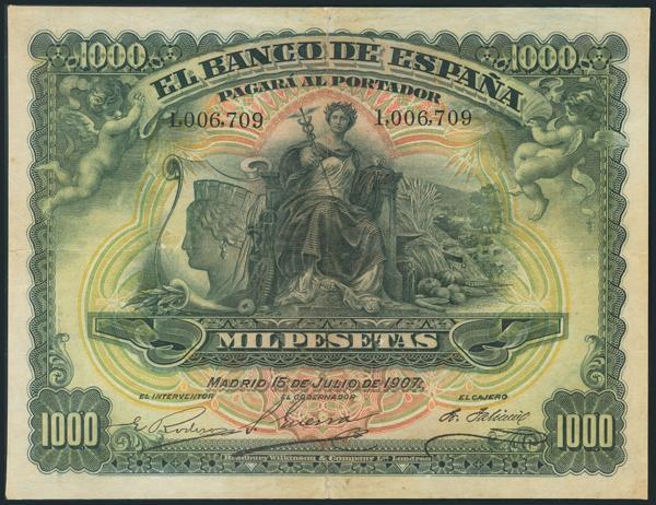 1047 - 1000 Pesetas. 15 de Julio de 1907. Sin serie. (Edifil 2017: 322). Pequeñas reparaciones. Raro. MBC-. - 375€