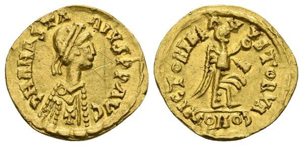 357 - ACUÑACIONES DE IMITACION. Tremissis. Epoca de Alarico II. 507 d.C. A nombre de Anastasio. Tomasini-67 var. Au. 1,46g. Graffiti en anv. MBC+. Rara. - 300€
