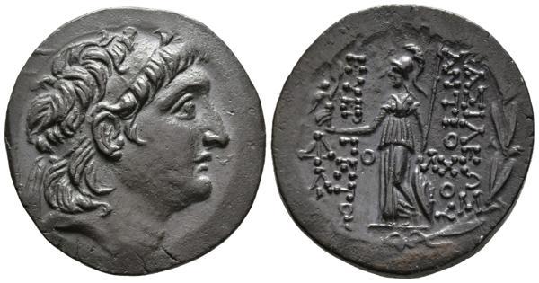 3 - ANTIOCHOS VII. Tetradracma. 138-129 a.C. Reino Seleucida. A/ Cabeza de Antiochos diademado a derecha. R/ Athena de pie a izquierda sosteniendo Nike y escudo, a la izquierda monograma todo dentro de la corona de laurel. SC 2148; HGC 7, 829; HGC 9, 1069. Ar. 16,36g. Preciosa pátina. EBC+. - 240€