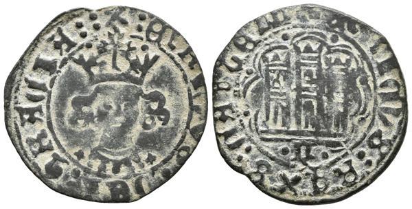 457 - ENRIQUE IV. Cuartillo. (1454-1474). Guadalajara, G gótica. A/ Leyenda: X : ENRICVS : DEI : GRACIA : :. R/ Leyenda: + ENRICVS : REXS : CASTELL. AB 745.2. Ve. 3,45g. MBC+. Rara. - 80€