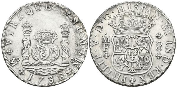 547 - FELIPE V. 8 Reales. 1736. México MF. Columnario. Cal-780. Ar. 26,51g. Oxidaciones marinas en anverso. EBC-. Escasa. - 200€